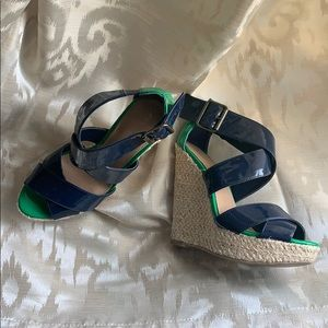 Xhilaration platform sandals navy blue Kelly green